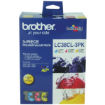 Brother LC 38CL3PK Original Ink Color Value Pack 260 Page Yield
