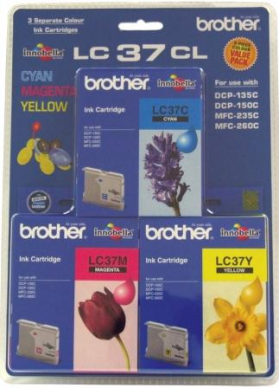 Brother LC-37CL3PK Colour Pack of 3 for Cyan/Yellow/Magenta