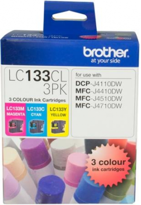 Brother LC 133CL3PK Original Cartridges 600 Page Yield