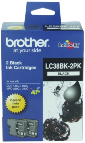 Brother LC 38BK2PK Original Black Ink Cartridge Twin Pack